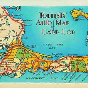 #5574 Tourists' Auto Map of Cape Cod, ca1930s