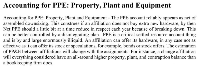 Accounting for PPE Property, Plant and Equipment