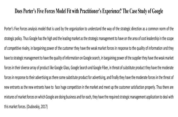 Does Porter's Five Forces Model Fit with Practitioner's Experience