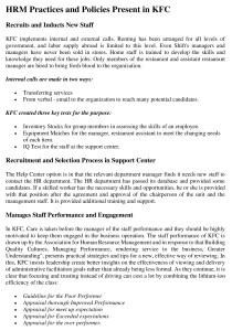 HRM Policy of KFC