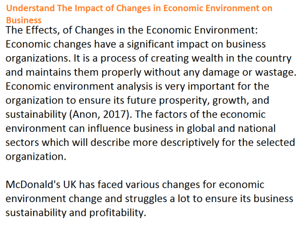 Impact of Changes in Economic Environment on Business