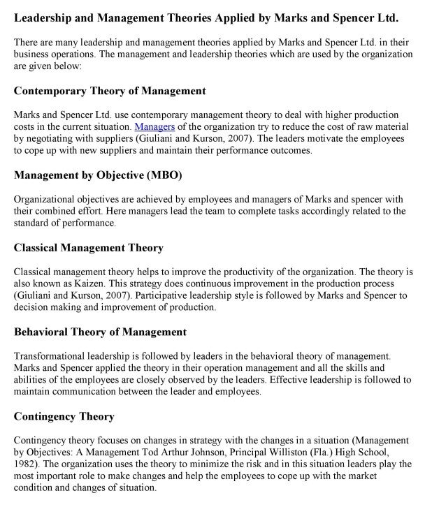 Leadership and Management Theories Applied by Marks and Spencer Ltd
