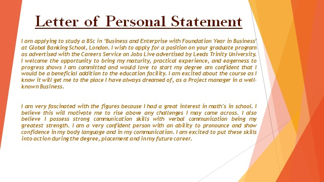 Letter of Personal Statement