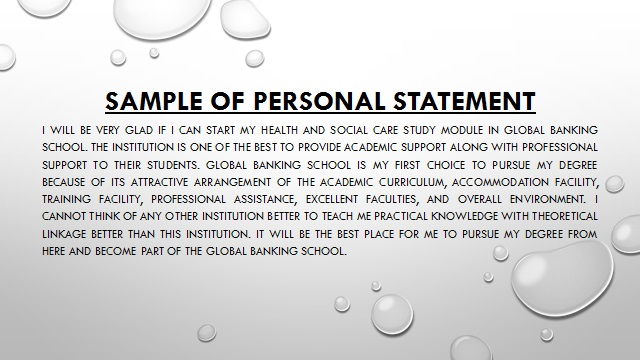 Personal Statement on Social Care
