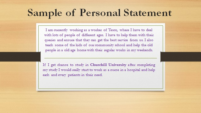 Sample of Personal Statement