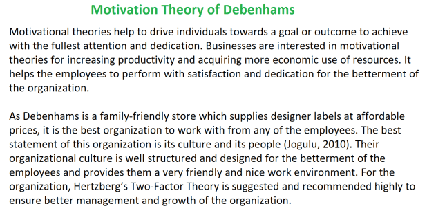 Motivation Theory of Debenhams