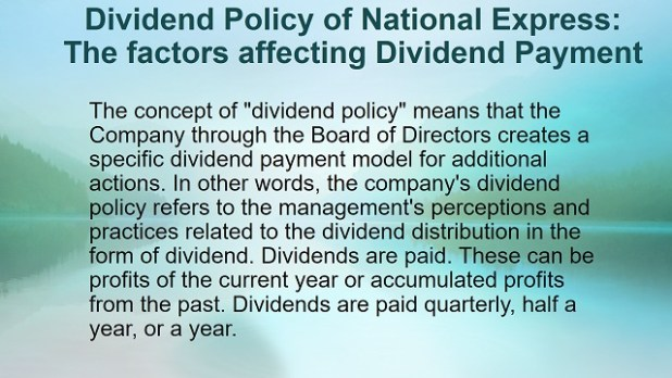 Dividend policy of National Express