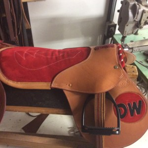 A pretty red seat makes this plain exercise saddle stand out. Add your initials or barn logo!