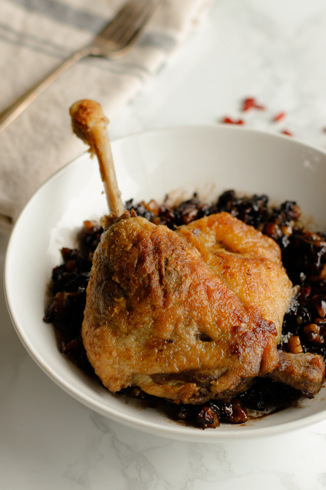 Duck confit is a must-have staple and is alway in my freezer ready to go. Duck confit makes for an easy yet decadent dinner.