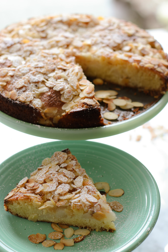 Pear and Almond Cake - An easy pear and almond cake recipe that is as gorgeous as it is delicious. We love this cake and make it often. Moist, light and tasty -- a perfect cake. | circleofeaters.com