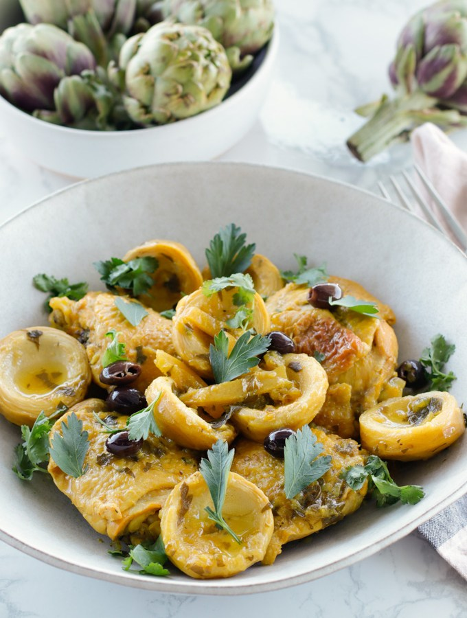 Moroccan Chicken with Artichokes, Preserved Lemons and Olives