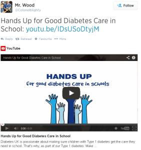 Hands up for Good Diabetes Care tweet