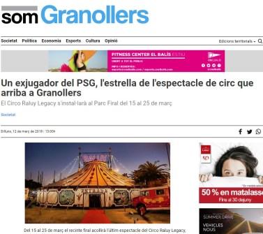 2018-03-12. Som Granollers. Un exjugador del PSG, estrella del espectacle de circ que arriba a Granollers