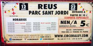 Flyer de la actuación del Circo Raluy en Reus 2020. Horarios de funciones