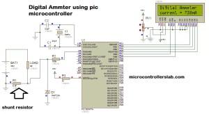 Digital Ammeter Circuit Diagram Using Microcontroller