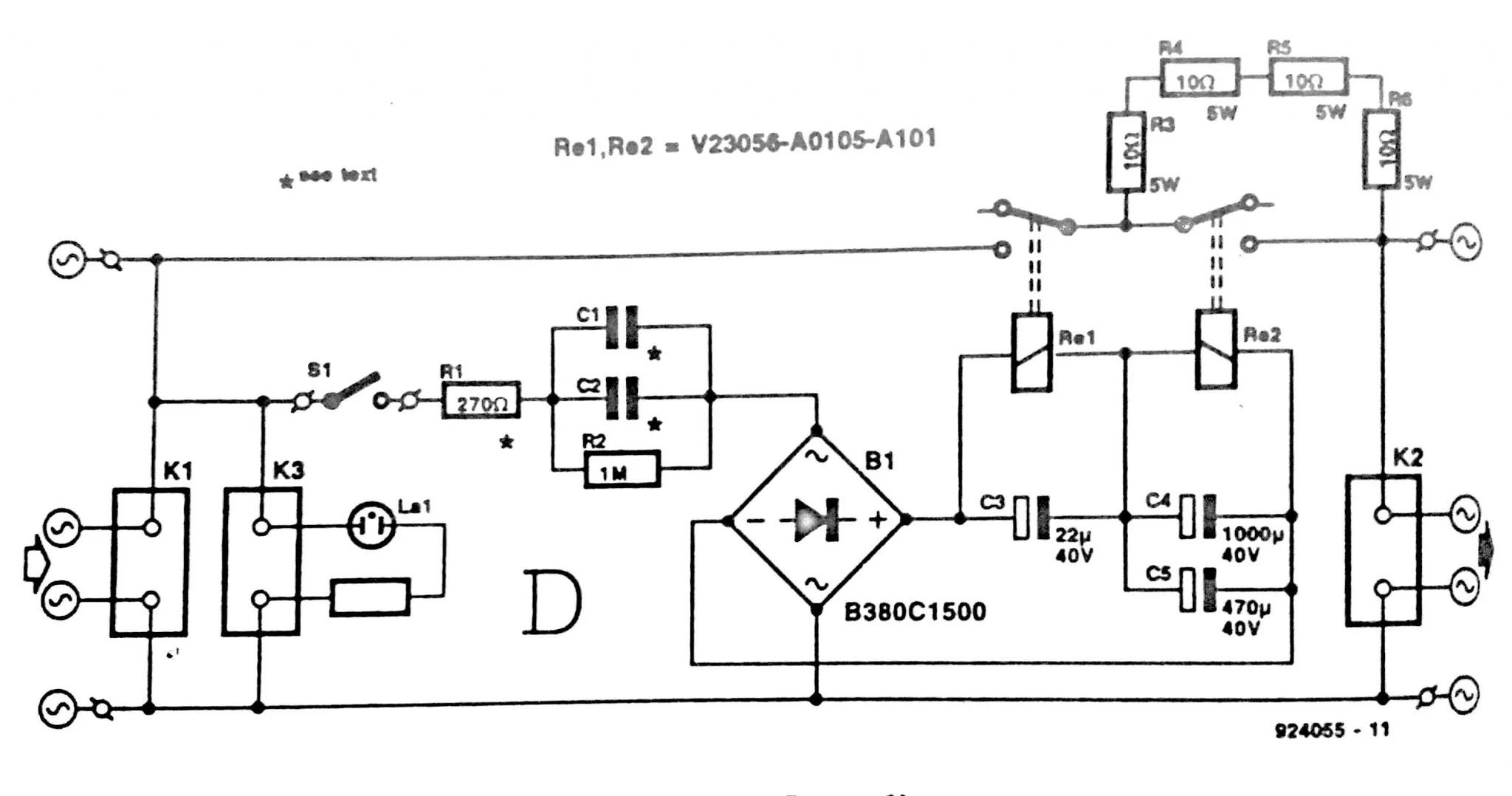 220 V Mains Power On Delay Circuit Diagram