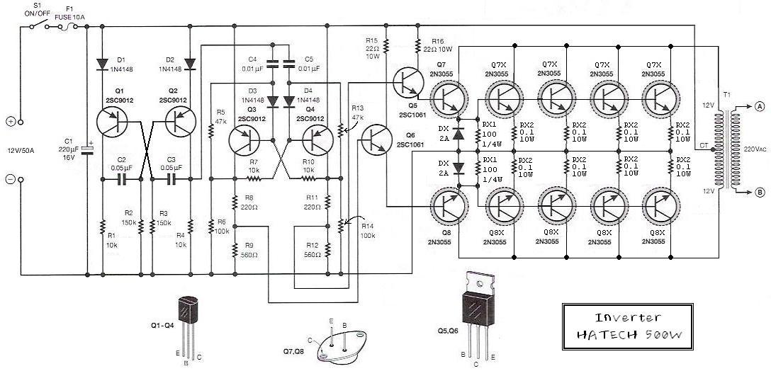 500W 12V to 220V Inverter