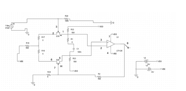 Figure 2: The design of a simple preamplifier is shown. Its main components are the Linear Technology LT112 and the Interfet IF3602 junction field-effect transistor (JFET).