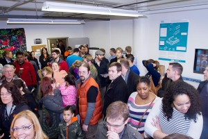 A crowd gathers at the MakeHartford Grand Opening.