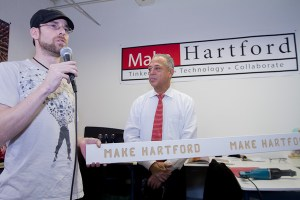 MakeHartford founder and President Steven Yanicke with Hartford's Mayor Pedro Segarra at the Grand Opening and Ribbon Cutting of the new makerspace.