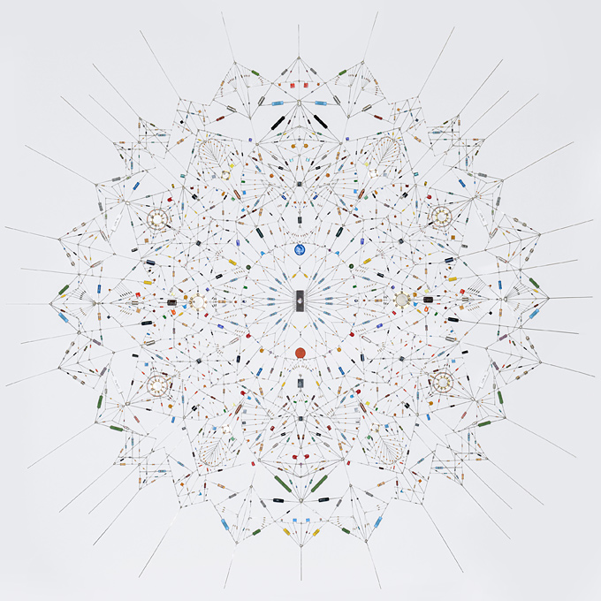 Technological Mandala 29: Electronic components, copper wire, paper, 120 cm x 120 cm, 2013. (Photo courtesy of Leonoard Ulian)