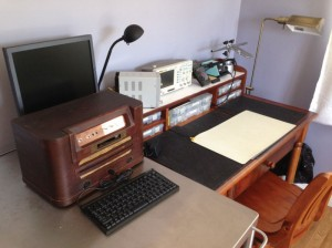"""Quinn has two workspaces. She uses this one for the """"small clean stuff."""""""
