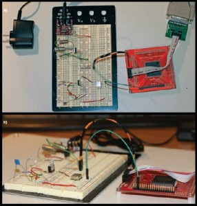 a—Chris's Saturn board prototype includes an Altera Cyclone II FPGA and JTAG FPGA programmer, two linear regulators, a 5-V breadboard power supply, and a 24-MHz clock. b—A side view of the board