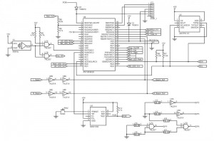 Figure 3: CDC Motherboard Schematic divided into three sections: (1) Data Processor, (2) CFM Formatter and (3) Input/Output. Some circuitry, such as the RS-422 Interface (U2, U4, J6), was included in the design for potential future utilization but was not used in the prototype configuration.