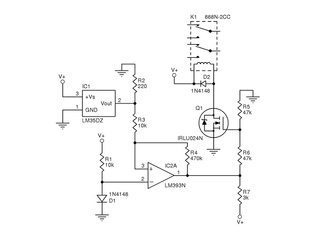 Figure 1 This is the convector control circuit. Relay K1 turns on at approximately 140°F (60°C) and turns off at 99°F (36°C). V+ = 12 V.