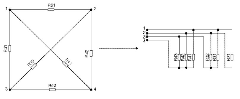 Figure 3 Example of measurement system and redrawn into a schematic form