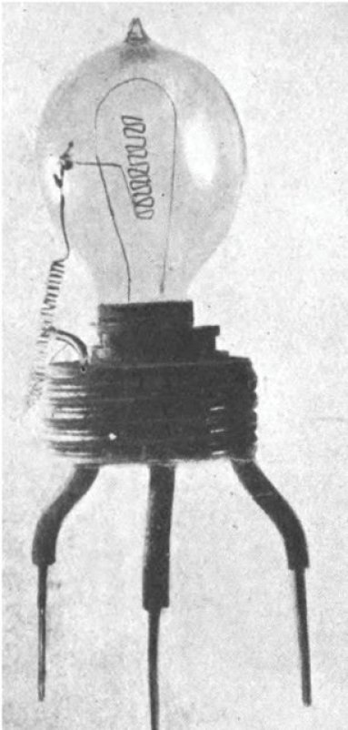 Figure 1 In 1904, Ambrose Fleming invented and patented a device he called the oscillation valve or thermionic diode. Today in the US, Fleming's device is more commonly known as the vacuum tube, while in the UK it is still known as the thermionic valve or valve. We think of a diode as having two leads. But the vacuum tube must have a heated filament to give off electrons, thus three leads—two for the filament (cathode) and one for the plate (anode) [1].