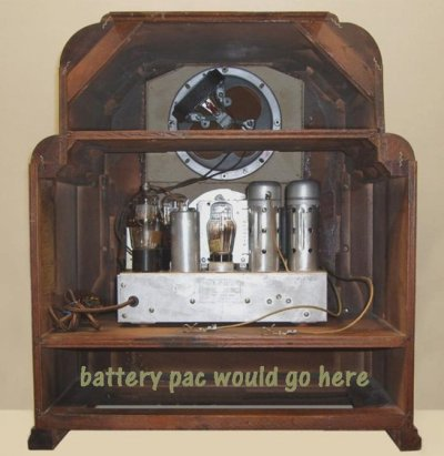 """Figure 2 Battery-powered radios of the 1930s were mostly sold for rural use, where electricity had not yet arrived. These radios were usually described as """"Farm Radios,"""" and were powered from what was called a """"battery pack,"""" which contained all the batteries needed to operate the radio [2]."""