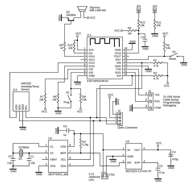 figure 1 Schematic of the leak detector modules. The MIC5323 LDO is enabled by the MCP79401's RTC Alarm output, so the power to the ESP8266 is completely shut off, except for a short period every 10minutes.