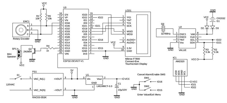 Figure 4 Schematic of the central power controller. It uses an ESP32 coupled to the MikroElektronika ConnectEVE TFT touchscreen display via SPI.