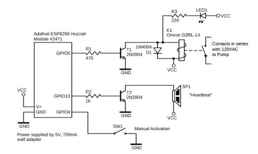 Figure 8 Schematic of the pump control module. It is almost identical to the air exchanger controller, apart from using a different relay.