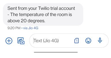 Figure 10 This shows what a sample SMS text alert to the verified phone number looks like. Note that this is using the Twilio trial membership.
