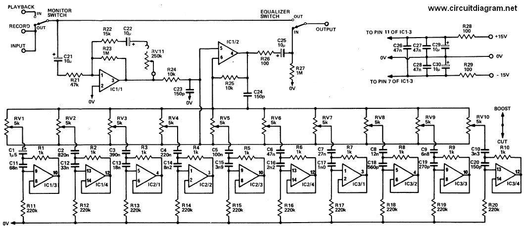 20 Band Graphic Equalizer  Schematic Design