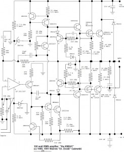 100W RMS audio amplifier circuit design