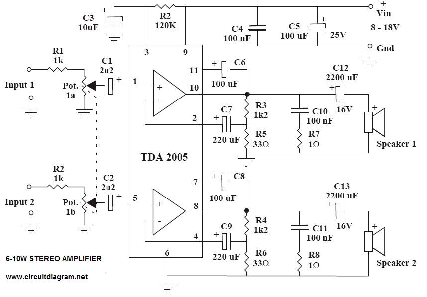 6-10W Stereo Audio Amplifier with TDA2005