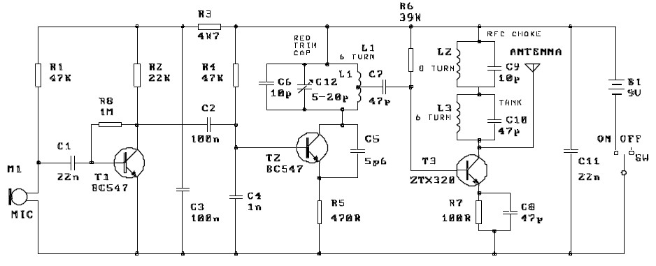 Three Stage 9V FM Transmitter Circuit Electronic