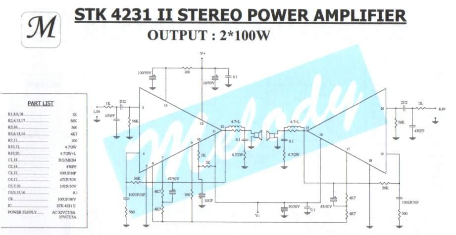 100W Stereo Power Amplifier STK4231II Scheme
