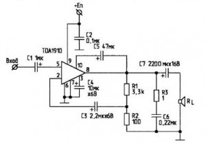 10W Audio Amplifier circuit with TDA1910
