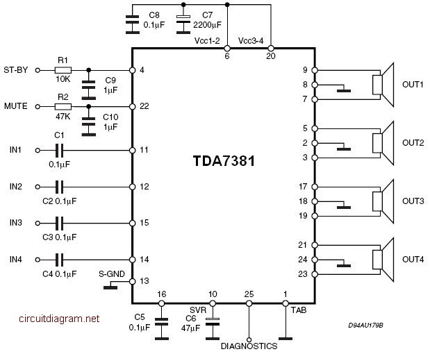 TDA7381 4 x 25W Quad Audio Amplifier Circuit