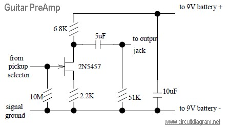 Guitar PreAmp with JFET 2N5457  Schematic Design