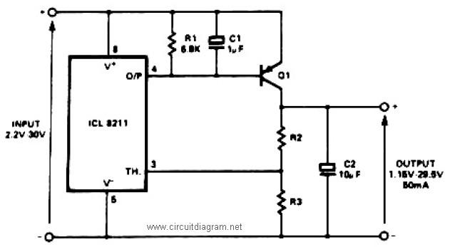 positive voltage regulator circuit with PNP Boost
