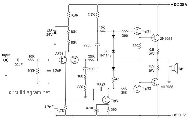 Simple 500w Audio Power Amplifier Circuit Diagram With