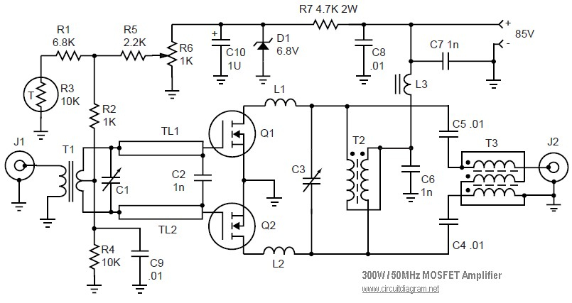 50MHz 300W MOSFET Linear Amplifier Diagram