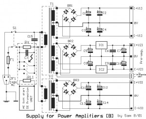Power supply for 65W Power Amplifier circuit using HEXFET