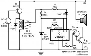 Heat Detector and Siren Circuit Diagram