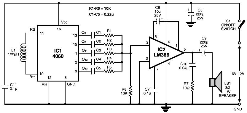 Multitone Siren Alarm circuit electronic